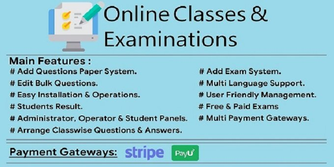 Online Classes & Examination Script with zoom