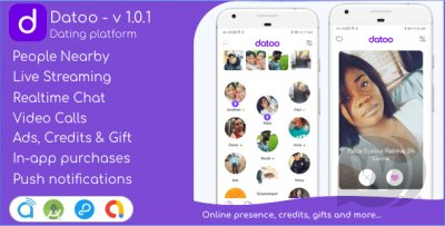 Datoo - Dating platform with Live Steaming and Video calls + Admin Panel APP
